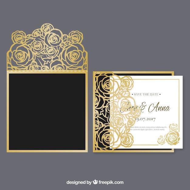 ゴールデンフラワー結婚式招待状 無料ベクター