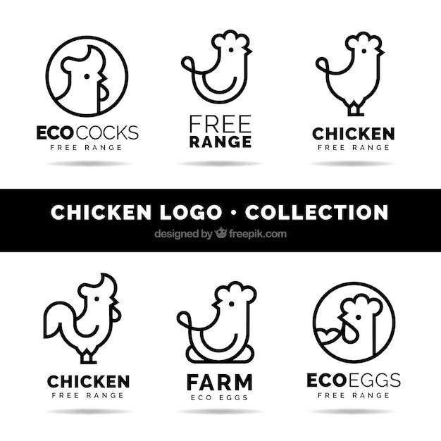 Набор из шести линейных куриных логотипов Бесплатные векторы