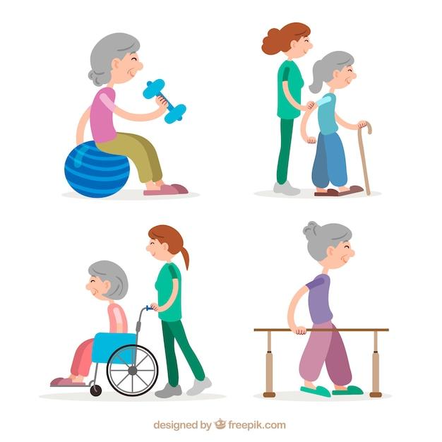 Пожилая женщина делает упражнения для физиотерапии Бесплатные векторы