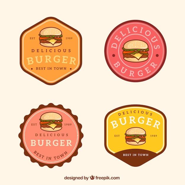 Винтажный выбор логотипов гамбургера Бесплатные векторы