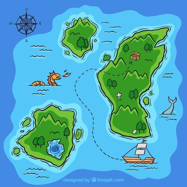 手描きの宝の地図の背景 無料ベクター