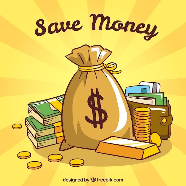 お金の袋と財布の黄色の背景 無料ベクター