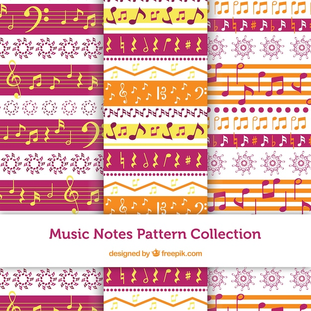 Набор орнаментов с музыкальными нотами Бесплатные векторы