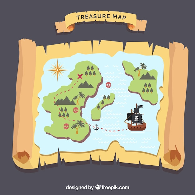 島と宝の地図の背景 無料ベクター