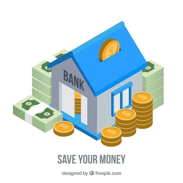 貯蓄を伴う銀行の背景 無料ベクター