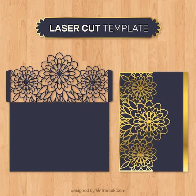 レーザーカットの黄金の花の封筒 無料ベクター