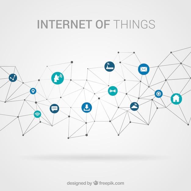 要素がインターネットに接続された多角形の背景 無料ベクター