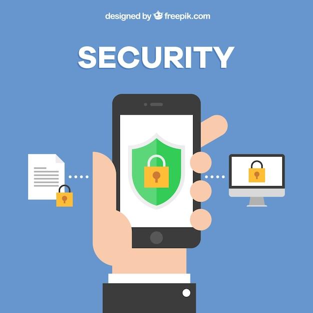 フラットデザインの手と携帯電話のセキュリティの背景 無料ベクター