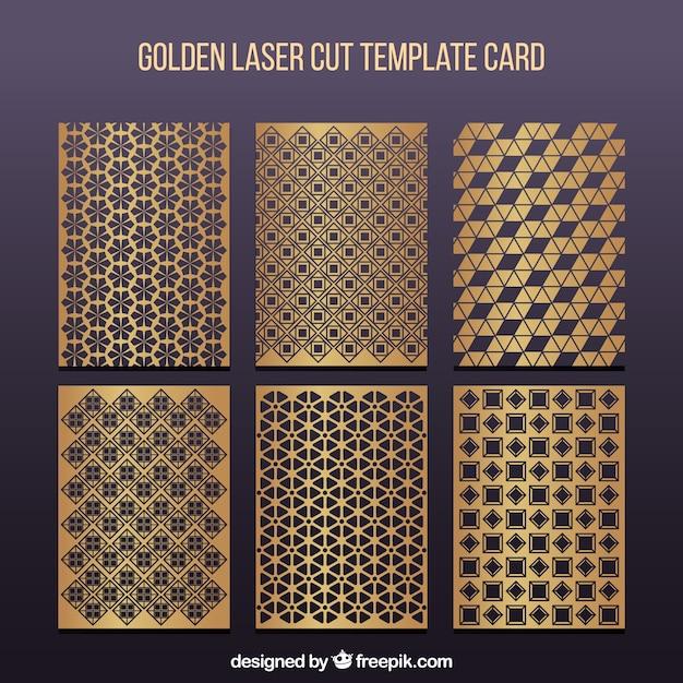 Набор шаблонов золотой лазерной резки Бесплатные векторы