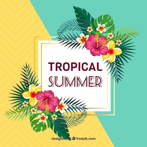 Летний фон с тропическими цветами Бесплатные векторы