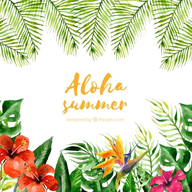 植物と花の水彩アロハ夏の背景 無料ベクター
