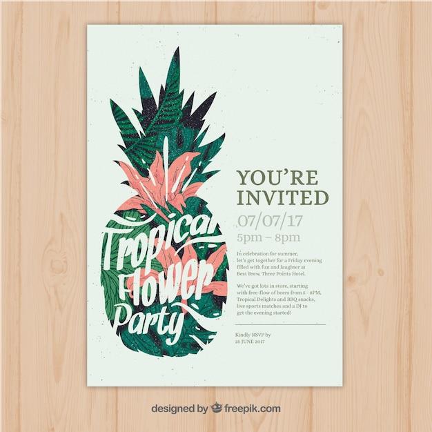 パイナップルとかなりヴィンテージ熱帯パーティーの招待状 無料ベクター