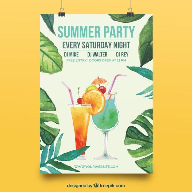 エレガントなポスター、夏のパーティーの水彩葉 無料ベクター