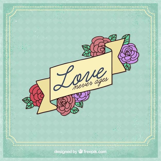 花のデザインで愛の背景 無料ベクター