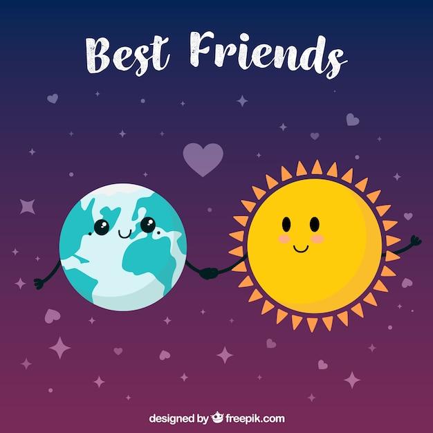 地球と太陽との親友の背景 無料ベクター