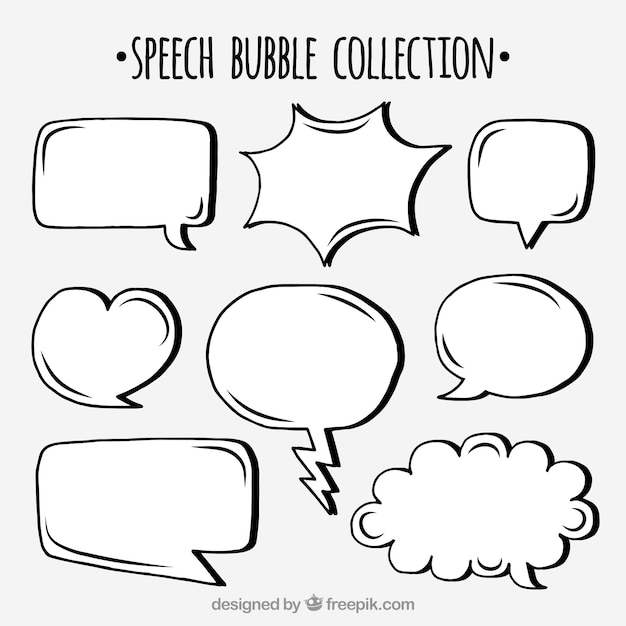 Набор ручных речевых пузырьков Бесплатные векторы
