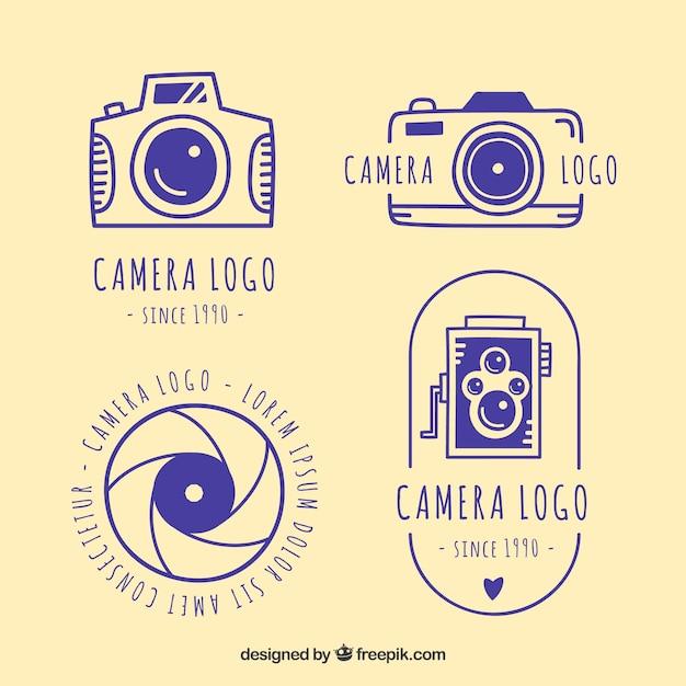 青色カメラロゴコレクション 無料ベクター