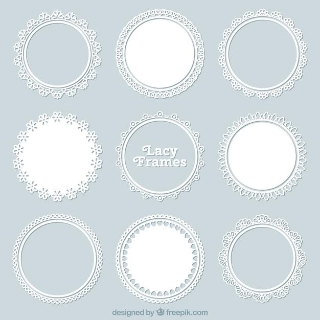 Набор кружевной декоративной рамы Бесплатные векторы