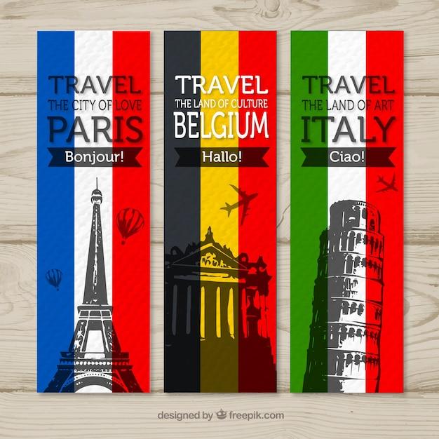 パリ、ベルギー、イタリアへの旅行用バナー 無料ベクター