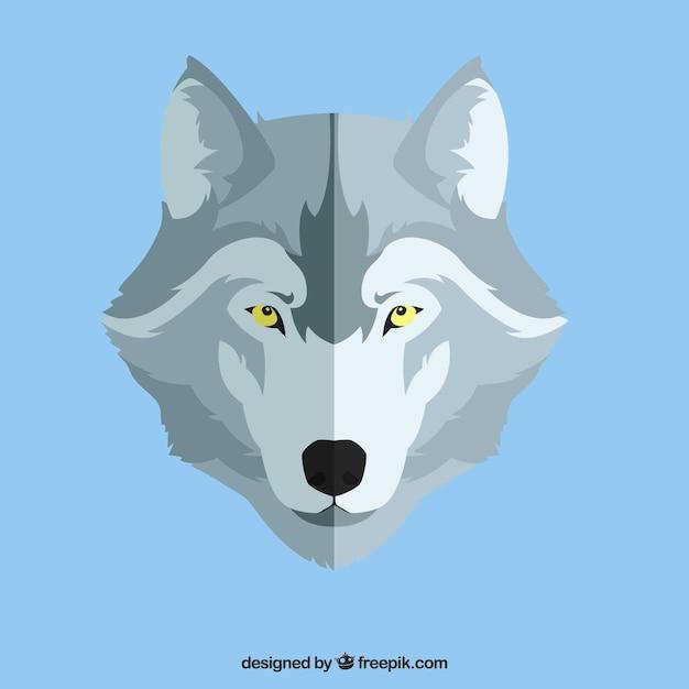 Волк фон в плоском дизайне Бесплатные векторы