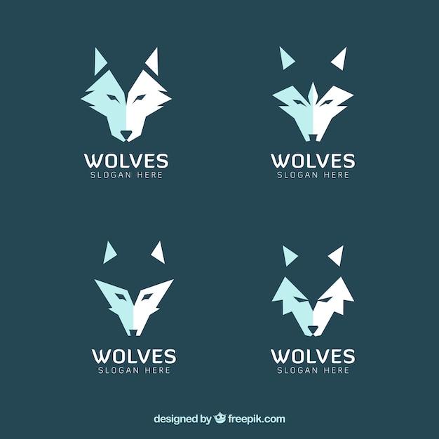 Набор современных логотипов волков Бесплатные векторы