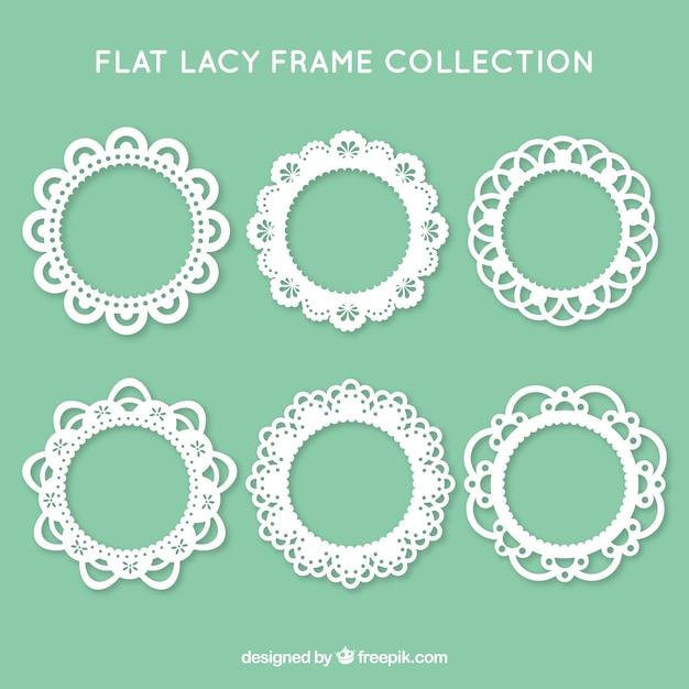 Коллекция из шести кружевных рам Бесплатные векторы