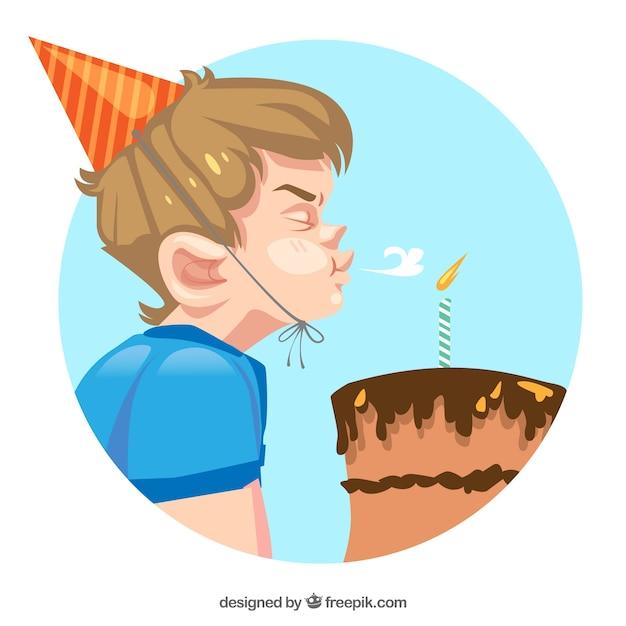 誕生日のケーキを吹く少年の背景 無料ベクター