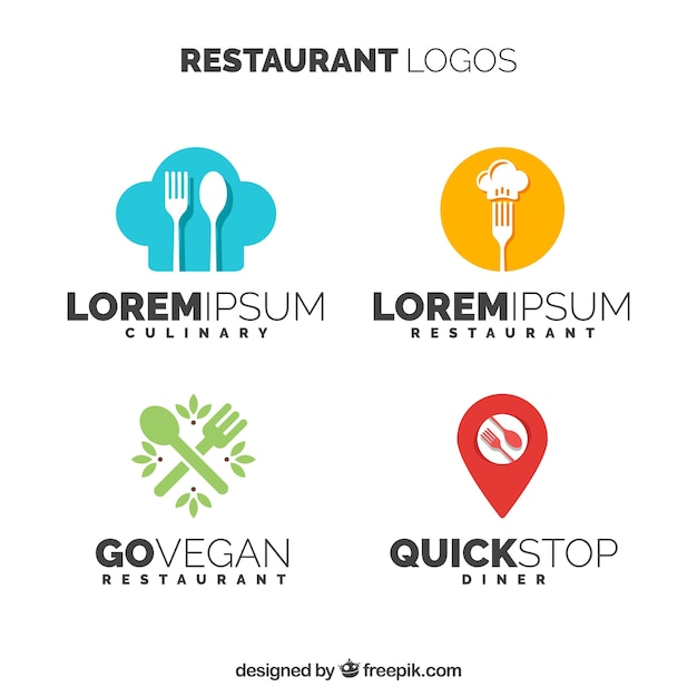 様々なモダンなレストランのロゴ 無料ベクター