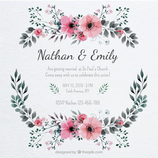 花のフレームと結婚式の招待状 無料ベクター