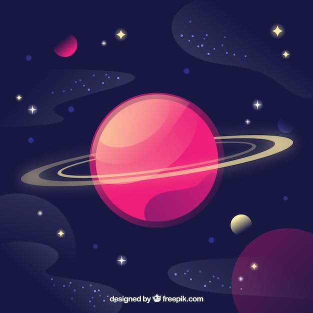 美しい惑星と星の背景 無料ベクター