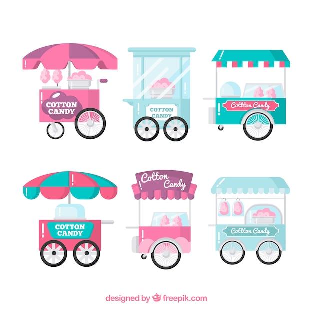 Набор вафельных конфет в плоском дизайне Бесплатные векторы