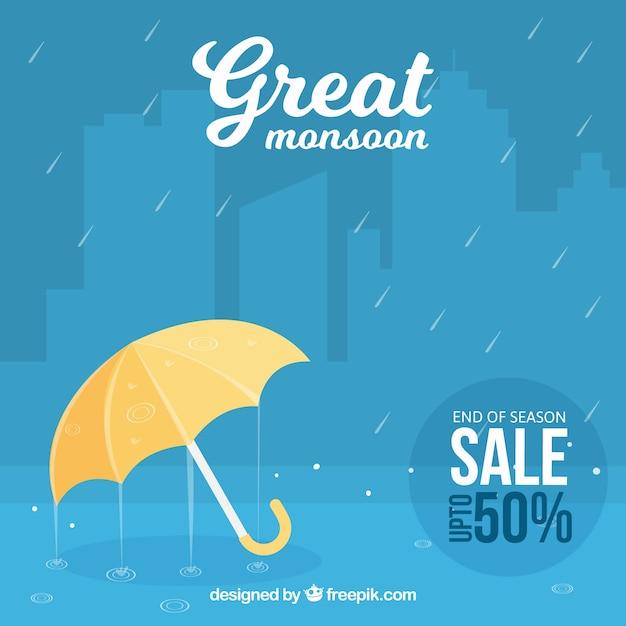 モンスーンの傘と雨の青い背景 無料ベクター