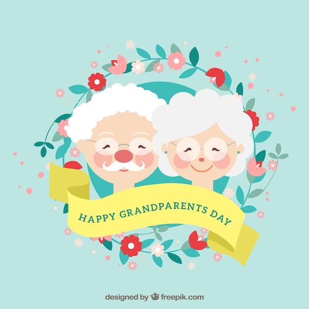 素敵な祖父母と花輪の背景 無料ベクター