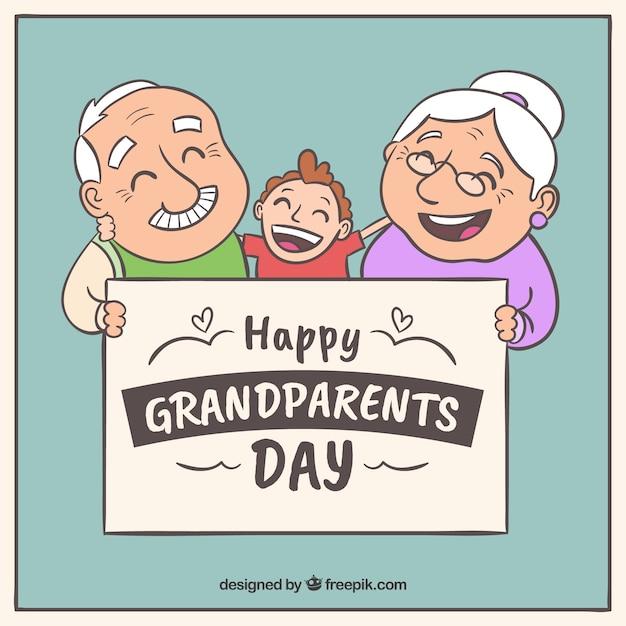 手の背景孫と幸せな祖父母を描いた 無料ベクター