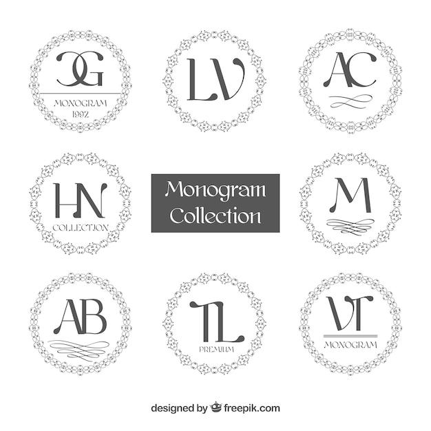 Коллекция круглых монограмм Бесплатные векторы