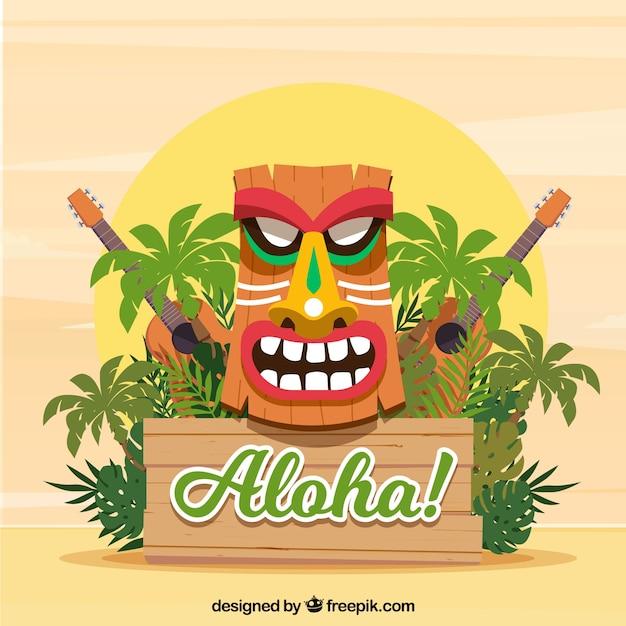 ハワイアンマスク、植物、ウクレレ 無料ベクター