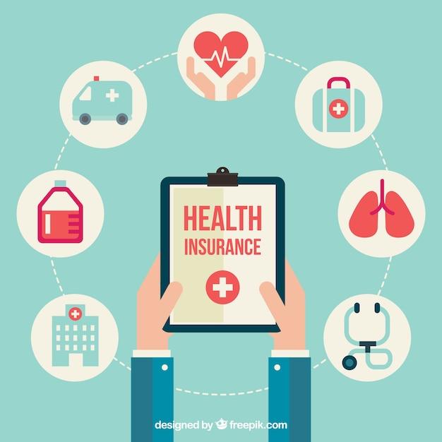 Композиция с значками медицинского страхования Бесплатные векторы