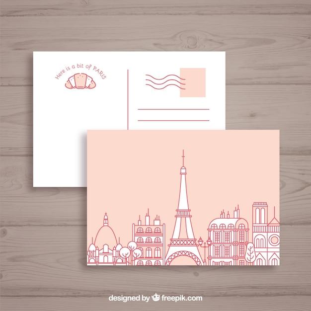 Эйфелева башня в париже. почтовая открытка Бесплатные векторы