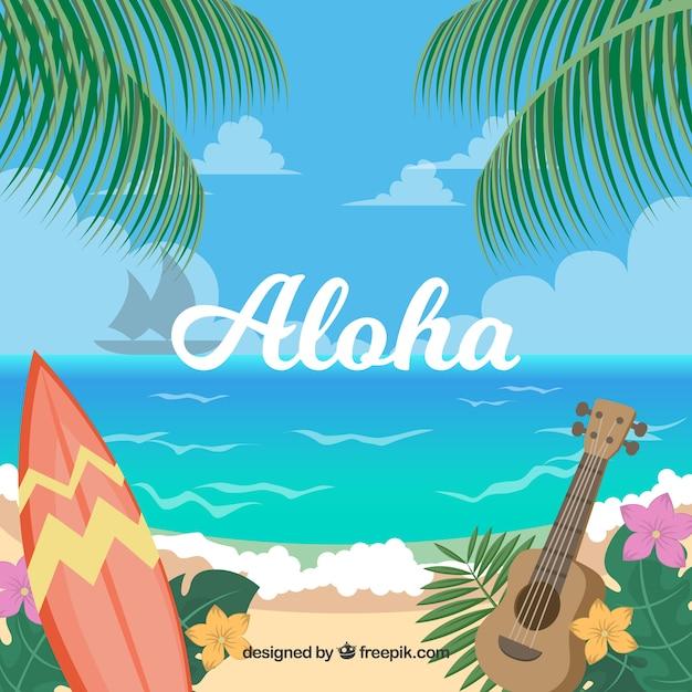 ハワイのビーチ風景の背景 無料ベクター