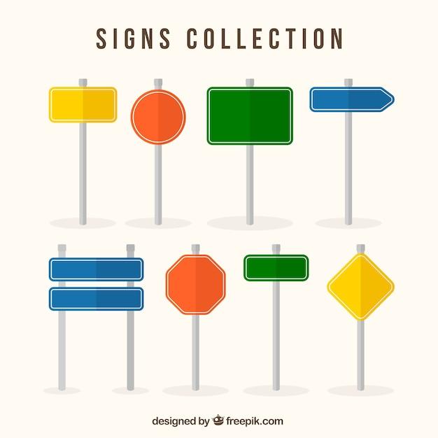 Коллекция красочных знаков в плоском дизайне Бесплатные векторы
