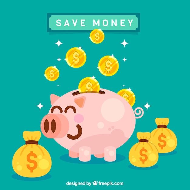 お金の袋と硬貨のバックグラウンドを持つ面白い貯金箱 無料ベクター