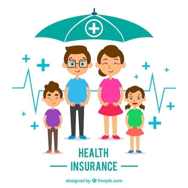 Счастливая семья с зонтиком Бесплатные векторы