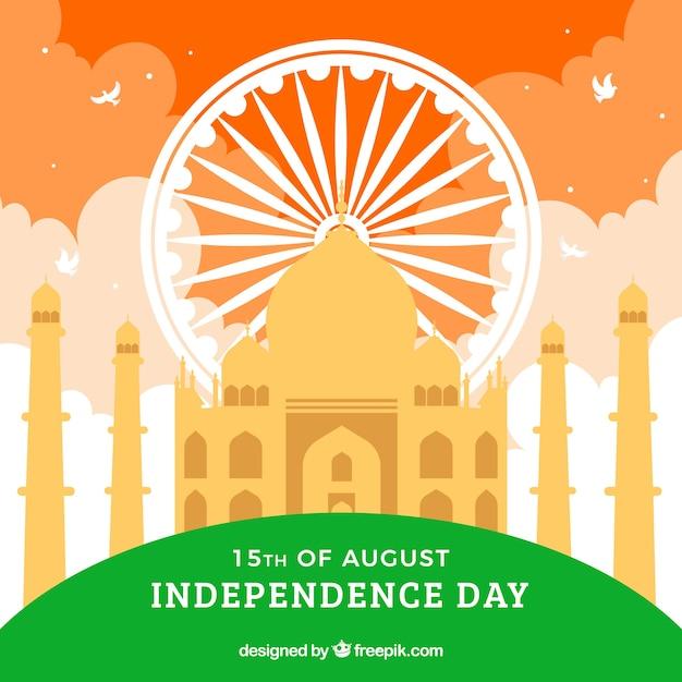 タジ・マハールとインドの旗の色 無料ベクター