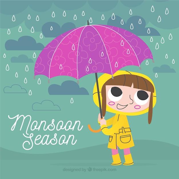 Ретро фон девушки с плащом и зонтиком Бесплатные векторы