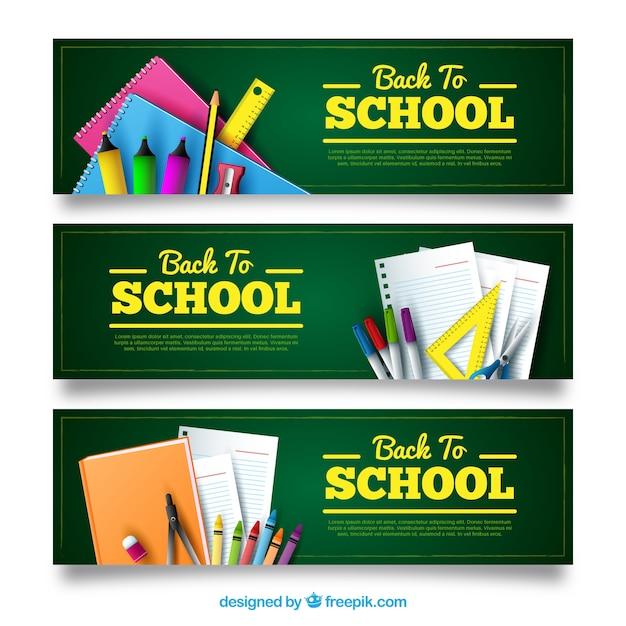Красочные баннеры с реалистичными школьными материалами Бесплатные векторы