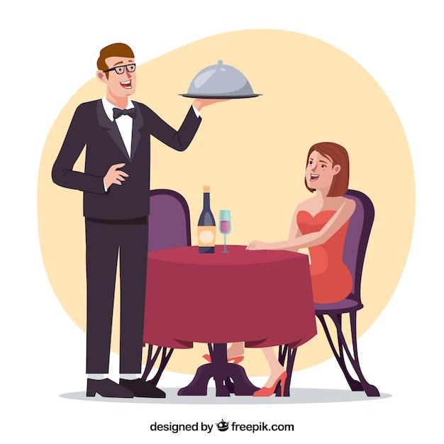 エレガントなレストランで女性とウェイター 無料ベクター