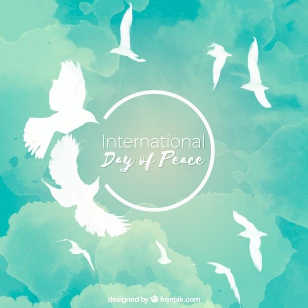 空を飛ぶクールな水彩の鳩 無料ベクター