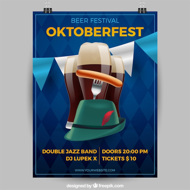 現実的なスタイルのオクトーバーフェストビールと帽子 無料ベクター