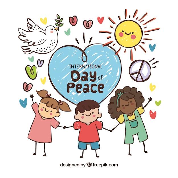 平和の日に楽しい手描きの子供たち 無料ベクター