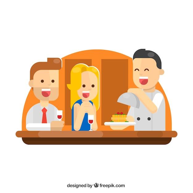 レストランのハッピーカップルとウェイター 無料ベクター